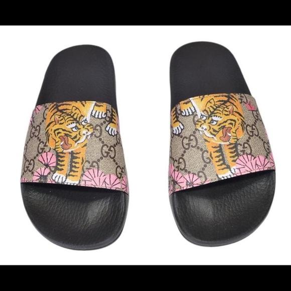 Gucci Supreme GG slides tiger (Rare discontinued)